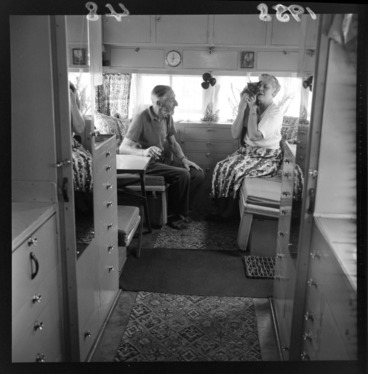 Image: Unidentified motor caravan with owners and cat