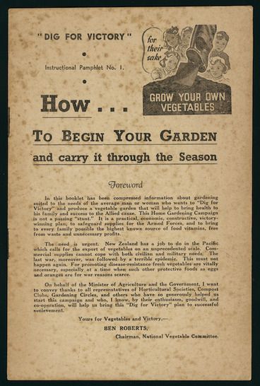 """Image: [New Zealand. Ministry of Agriculture] :""""Dig for victory"""" instructional pamphlet no. 1. How to begin your garden and carry it through the season. [1943. Front page]"""
