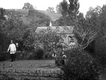 Image: William Williams and Lydia Myrtle Williams in their vegetable garden, Carlyle Street, Napier