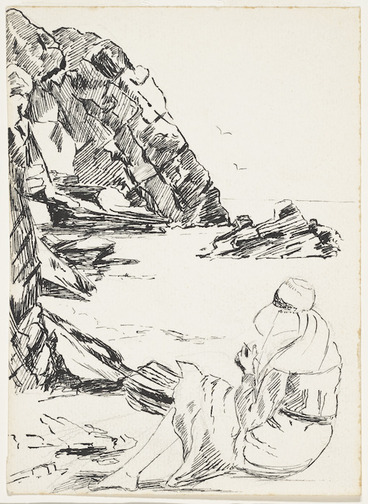Image: [Moncrieff, Perrine Millais] 1893-1979 :[Woman sitting on beach, drawing. ca 1920]