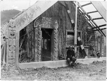 Image: Hamiora Potakurua outside the Eripitana meeting house, Te Whaiti, Whakatane
