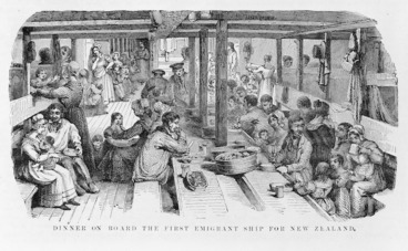 Image: [Star Lithographic Works] :Dinner on board the first emigrant ship for New Zealand [Auckland, Star Lithographic Works, 1890]