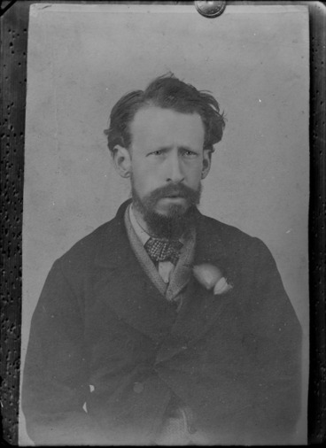 Image: Head-and-shoulders studio portrait of an unidentified man with a beard, possibly Christchurch district