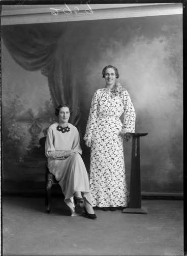 Image: Studio portrait of two unidentified women, probably Christchurch