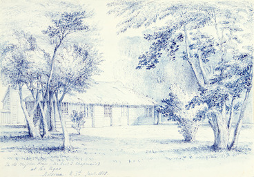 Image: [Kinder, John] 1819-1903 :The old Mission House (the Revd T. Chapman's) at the Ngae, Roturua, N[ew] Z[ealan]d. Jan[uar]y. 1858. 1858.