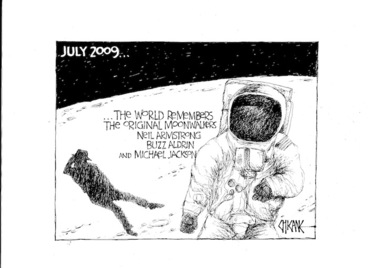 Image: The world remembers the original moonwalkers, Neil Armstrong, Buzz Aldrin and Michael Jackson. 8 July 2009