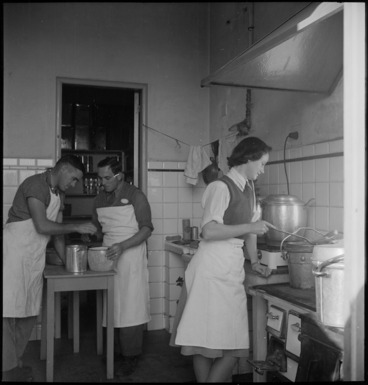 Image: At work in the Tuis' kitchenette at the NZ Forces Club in Bari, Italy, World War II - Photograph taken by M D Elias