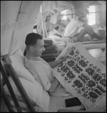 Image: P Buckley, of Ireland, occupied with tapestry as part of occupational therapy at 2 NZGH Kantara, Egypt - Photograph taken by George Kaye