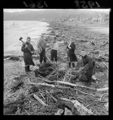 Image: Five unidentified boys collecting driftwood on Petone Beach