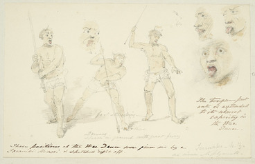 Image: [Strutt, William] 1825-1915 :Driving spear in ground with great fury. The tongue put out and extended to its utmost capacity in the war dance. These positions of the war dance were given me by a Taranaki Maori and sketched right off. Taranaki - N. Z. Ad vivum. N. Plymouth. [1855 or 1856]