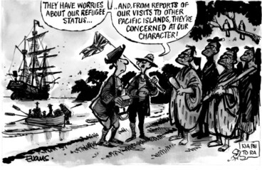 """Image: Evans, Malcolm Paul, 1945- :""""They have worries about our refugee status... and, from reports from our visits to other Pacific islands, they're concerned at our character!"""" 21 May 2012"""