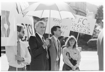 Image: Environment Minister, Geoffrey Palmer, at the Royal Forest and Bird Protection Society Save the Ozone rally, Parliament grounds, Wellington - Photograph taken by Jon Hargest
