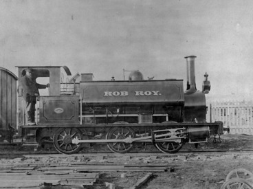 Image: F class steam locomotive Rob Roy, and driver
