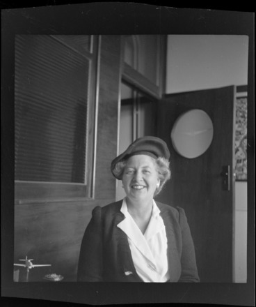 Image: Portrait of Mrs S Julius, ex Senior Officer of the Women's Auxiliary Air Force (WAAF), Whites Aviation Office, Auckland