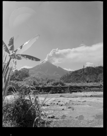 Image: View across a valley stream to the erupting volcano of Mount Bagana, Bougainville Island, North Solomon Island group
