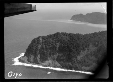 Image: View of the steep bush covered coastline of Raoul Island with Denham Bay beyond, the Kermadec Islands group