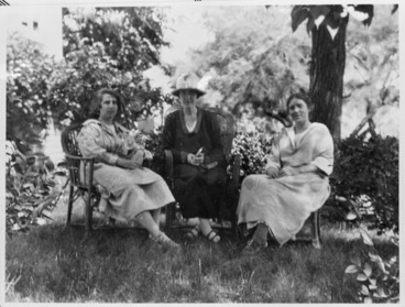 Image: Katherine Mansfield with Ida Baker and Dorothy Brett in the garden at Sierre, Switzerland