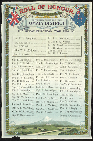 Image: Roll of Honour presented to men from the Omata District Taranaki. The Great War 1914-18 [ca 1920?].