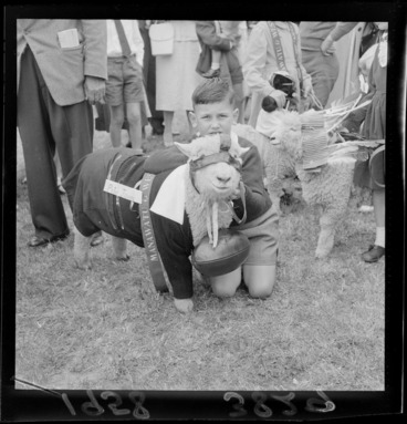 Image: Unidentified young boy with his winning pet lamb, which is dressed as a rugby player including jersey, shorts, ball, and headgear, Palmerston North Agricultural & Pastoral Show (A & P Show), Manawatu-Whanganui Region