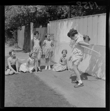 Image: Sally Boulton with the Hula hoops, [Wellington?]