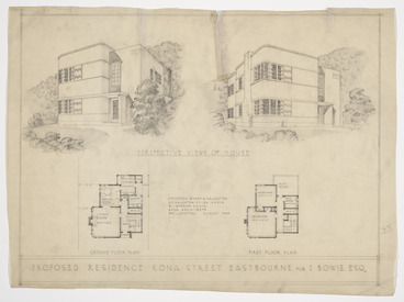 Image: Crichton, McKay & Haughton :Proposed residence, Rona St, Eastbourne for I Bowie Esq. August 1938.