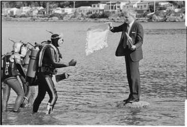 Image: Environment Minister, Geoffrey Palmer with petition from inhabitants of the sea - Photograph taken by Phil Reid