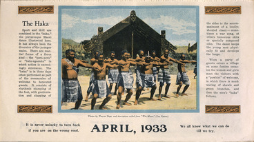 Image: [New Zealand Tourist Department?] :The Haka. April, 1933.