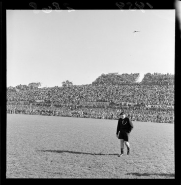 Image: View of crowd on Western Bank grandstand at Athletic Park, Berhampore, Wellington, during second rugby test match, New Zealand All-Blacks vs British and Irish Lions