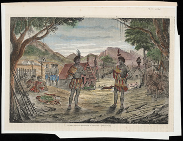 Image: Artist unknown :Maories disputing boundaries of territory. - [See page 51]. The Illustrated Sydney news, October 16, 1866. [Page] 53.