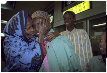 Image: Somali family reunion, Wellington Airport, New Zealand - Photograph taken by Ross Giblin