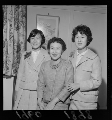 Image: Portrait of Mrs J Ohkuna with her two teenage daughters, probably inside their home