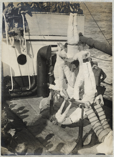 Image: Gymnastic display by soldiers on board `Tainui.'