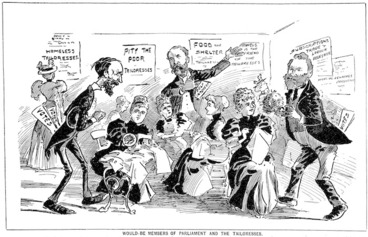 Image: [Blomfield, William], 1866-1938 :Would-be members of Parliament and the tailoresses. N.Z. Observer and Free Lance, 27 June 1896.