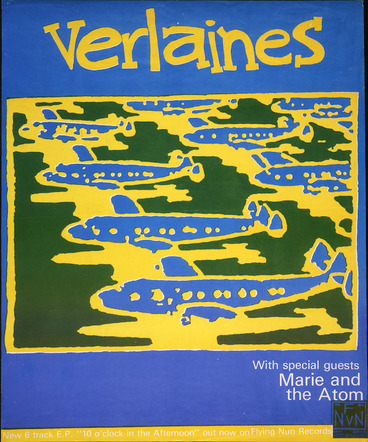 """Image: [Flying Nun Records] :Verlaines. New 6 [six] track E. P. """"10 [ten] o'clock in the afternoon"""" out now on Flying Nun Records. 1984. [Blue version]"""