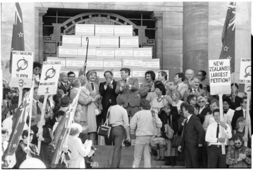 Image: Presentation of petition opposing the Homosexual Law Reform Bill, Parliament, Wellington - Photograph taken by Phil Reid