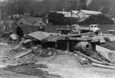 Image: Remains of No 2 gun lying near Ngauranga Gorge Road, Wellington, during the demolition of Fort Kelburne