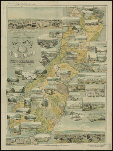 Image: Pictorial map of the Middle Island of New Zealand [cartographic material] : compiled from the latest government maps and statistical records.