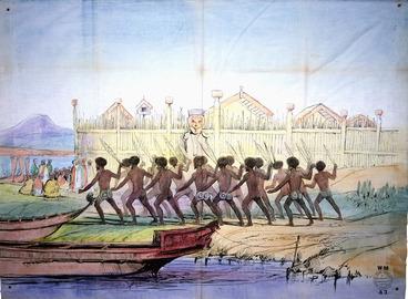 Image: [Angas, George French], 1822-1886 :[War dance before the pah of Ohinemutu, near Rotorua Lake, 1844] / Working Men's Educational Union WM 43. [1850s or early 1860s. After Joseph Jenner Merrett]
