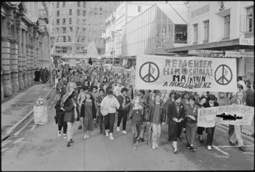 Image: Silent peace march on Hiroshima Day, Lambton Quay, Wellington
