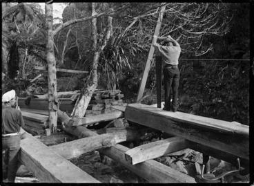 Image: Pitsawing at Anawhata - Photograph taken by Albert Percy Godber
