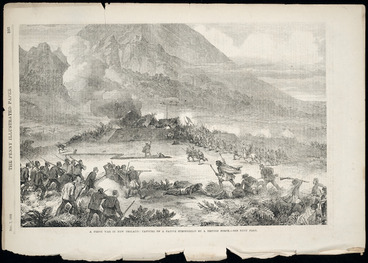 Image: Artist unknown :A fresh war in New Zealand; capture of a native stronghold by a British force - see next page. Penny Illustrated paper, Nov. 7, 1868, page 293