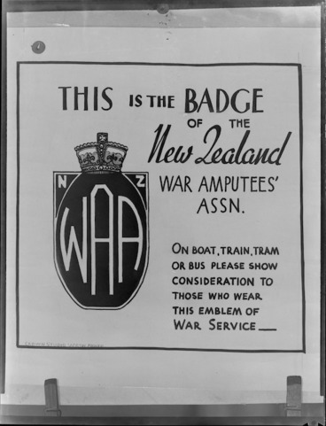 Image: New Zealand War Amputee's Association poster advertising the WAA badge