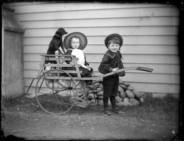 Image: Portrait of a young Edgar Williams, a dog and an unidentified young boy playing with a toy wooden rickshaw outside the Williams' home, 'View Bank', Maitland Street, Dunedin