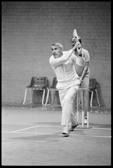 Image: Deputy Prime Minister, Geoffrey Palmer, playing indoor cricket - Photograph taken by Merv Griffiths