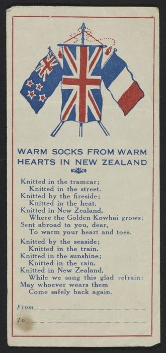 Image: Artist unknown :Warm socks from warm hearts in New Zealand [Flier. ca 1940]