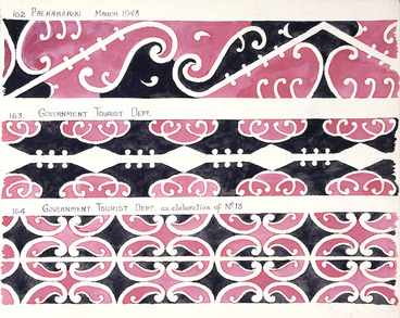 Image: Godber, Albert Percy, 1876-1949 :[Drawings of Maori rafter patterns]. 162. Paekakariki. March 1943; 163. Government Tourist Dept; 164. Government Tourist Dept. an elaboration of No 13. [1943].