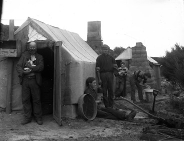 Image: Gum diggers' camp, North Auckland