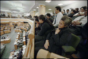 Image: Members of Tainui iwi in public gallery of Parliament, Wellington