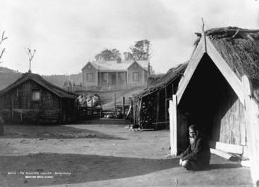 Image: Burton Brothers (Dunedin), 1868-1898 : European style meeting house Miti Mai Te Arero, also known as Te Whiti's House, at Parihaka