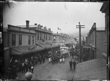 Image: Procession in Jackson Street, Petone, celebrating the end of the South African War